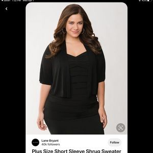 Lane Bryant black knit dolman sleeve shrug